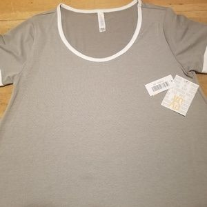 Lularoe Perfect T XS Grey w/White
